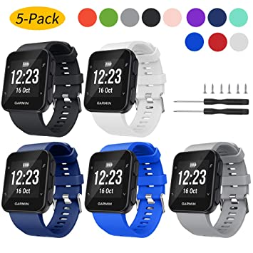 Watbro Band Compatible with Garmin Forerunner 35, Soft Silicone Watch Band Replacement Strap, for Garmin Forerunner 35 Smart Watch, Fit 5.11-9.05 Inch ...