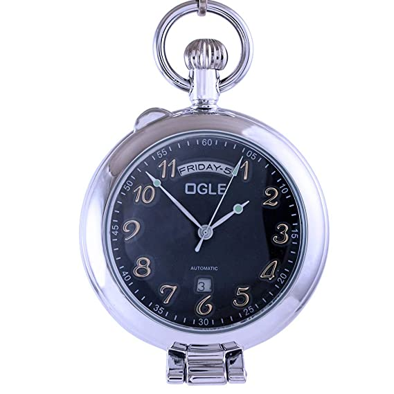 Ogle - Reloj de Bolsillo mecánico de pie, con Calendario, Fecha, Semana, Oro Negro, Cadena de Media Cazadora: Amazon.es: Relojes