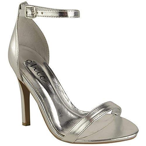 62eacd136a573 Femmes Talon Aiguille Lanière Sandales Talon Haut Bride Cheville Manchette  Chaussures Bout Ouvert - Argent Métallisé