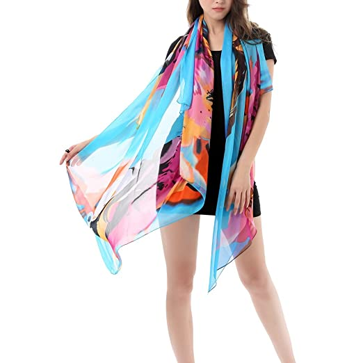 02e9e03d8b32b Image Unavailable. Image not available for. Color  iShine Sexy Womens  Sunscreen Floral Print Sheer Chiffon Bikini Summer Beach Swimwear Sarong  Wrap ...