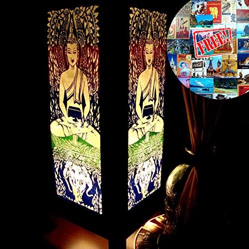 Buddha & Elephant Table Lamp Lighting Shades Floor Desk Outdoor Touch Room Bedroom Modern Vintage Handmade Asian Oriental Wood LED Bedside Gift Art Home Garden Christmas; Us 2 Pin Plug ()