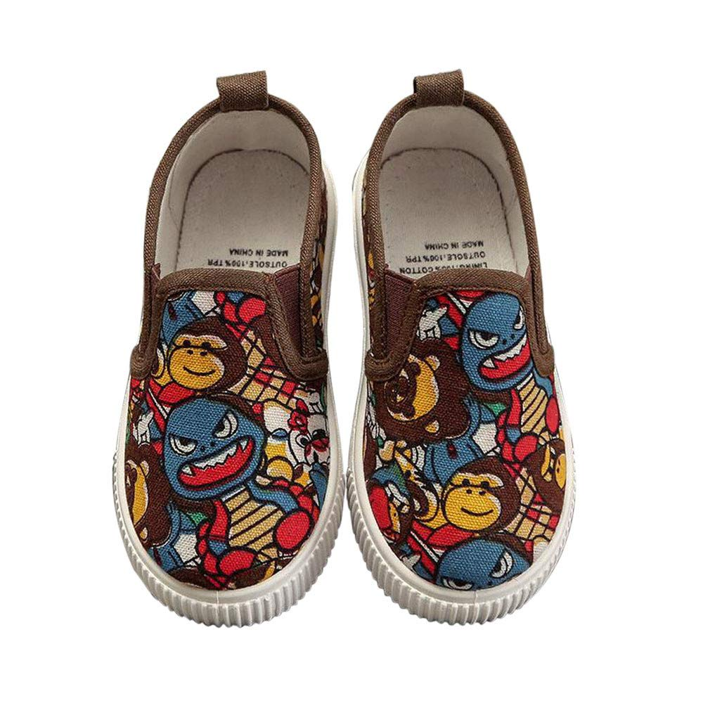 Children Infant Kids Girls Boys Canvas Graffiti Print Flat Lazy Casual Floral Print Embroidery Shoes