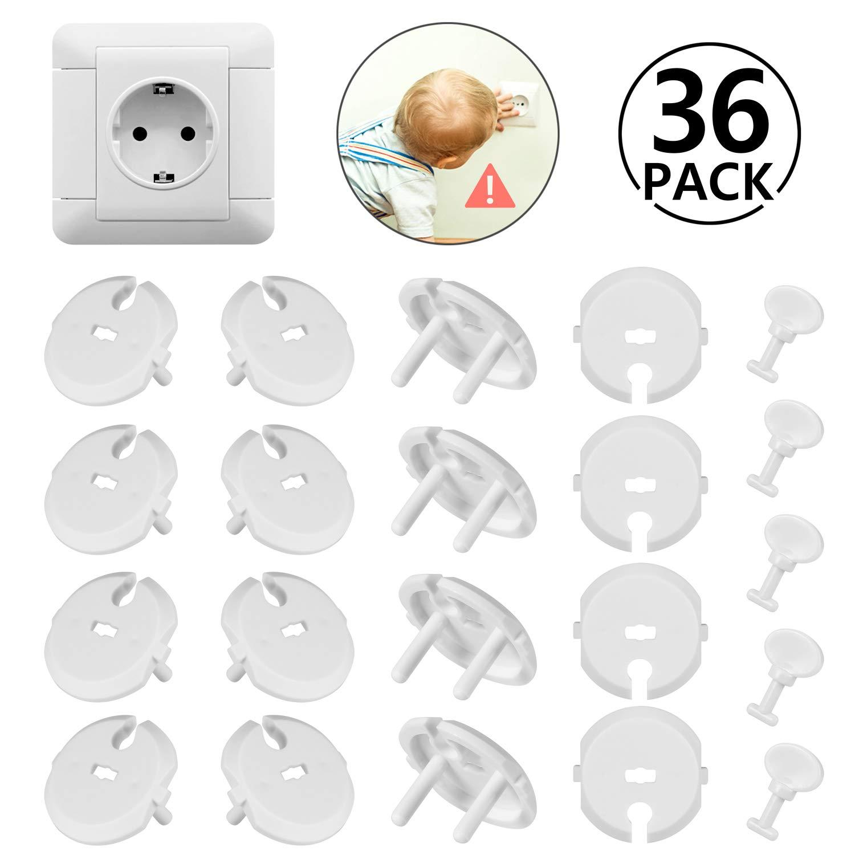 36pcs (30 caches prises + 6 clés) Caches Prises pour Enfant Sécurité avec Caches Prises Électrique à Mécanisme Tournant pour Prises Normalisées 2 Trous, Blanc yosemy