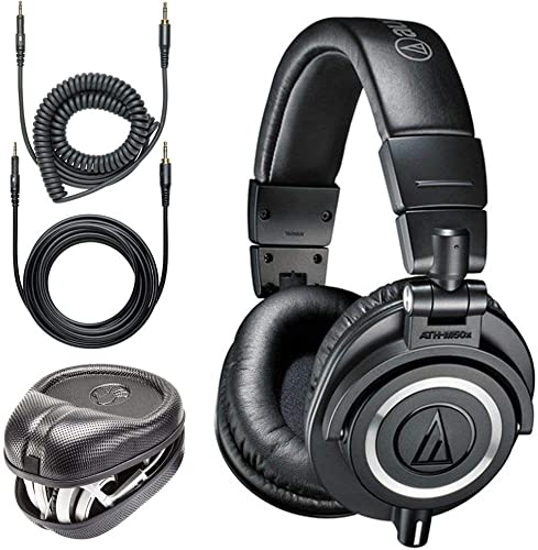 Audio-Technica ATH-M50x Professional Monitor Headphones Slappa Full Sized HardBody PRO Headphone Case SL-HP-07