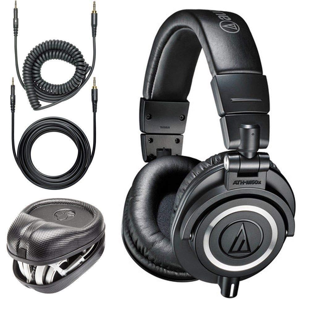 Audio-Technica ATH-M50x Professional Monitor Headphones Slappa Full Sized HardBody PRO Headphone Case SL-HP-07