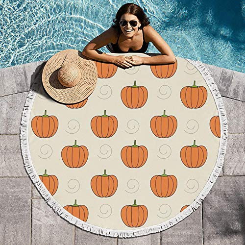 Cuyde Round Beach Towel Blanket Pumpkins Clipart-01 Roundie Beach Throw Tapestry Mandala Microfiber Beach Tassels Super Water Absorbent Round Beach Blanket]()
