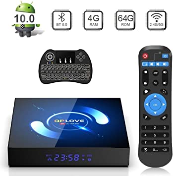 QPLOVE Android 10.0 TV Box 4GB 64GB H616 Quad Core 2.4G/5G WiFi Bluetooth 5.0 H.265 3D 6K Ultra HD Smart TV Box Con Mini Wireless Backlit Keyboard: Amazon.es: Electrónica