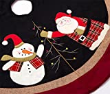 "SANNO 48"" Christmas Tree Skirt with Santa, Sonwman, Snowflake Xmas Non-woven Decorations,Black Sky with Double Edges"