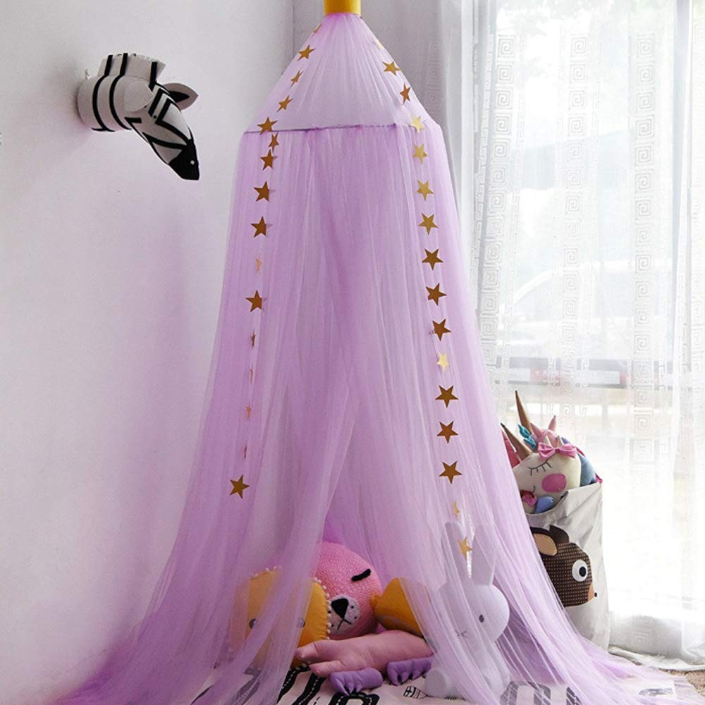 E Support Dome Princess Bed Canopy Round Lace Mosquito Net Play Tent Hanging House Decoration Lace Netting Curtains Indoor Game House for Baby Kids