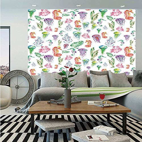 (SoSung Jellyfish Removable Wall Mural,Pattern with Colorful Seahorses Jellyfish and Seaweed Algae Fun Cheerful Design,Self-Adhesive Large Wallpaper for Home Decor 66x96 inches,Multicolor)
