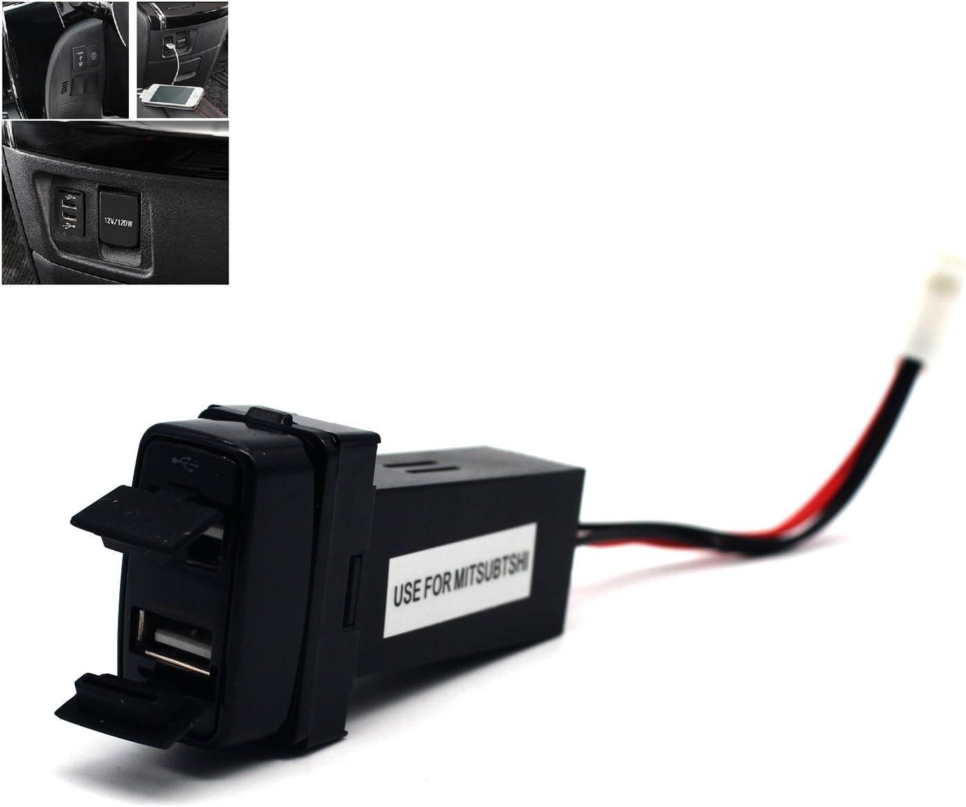 MOTONG 2.1A Dual USB Socket for Mitsubishi - Mitsubishi 2.1A Dual USB Power Socket Port for iPhone X/8/7/6/5, iPad, Samsung,LG,Huawei and More