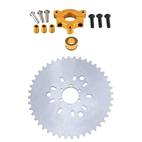 """CNC Silver 44T Sprocket With 1.5/"""" Adapter Fits 60cc 66cc Motorized Bicycle"""