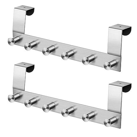 Homemaxs - Colgador para Puerta (2 Unidades, Acero Inoxidable Resistente, con 6 Ganchos