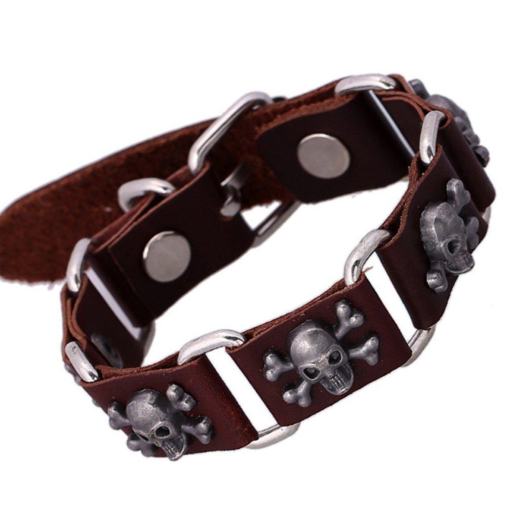 Cool Leather Bracelet Pirate Style Bangle Vintage Cuff Wristband Rock Punk Biker Bracelet YIHAN