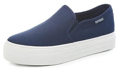 Aisun Damen Basic Runde Zehen Canvas Ohne Verschluss Durchgängig Plateau Sneakers Schwarz 39 EU 5HhVS