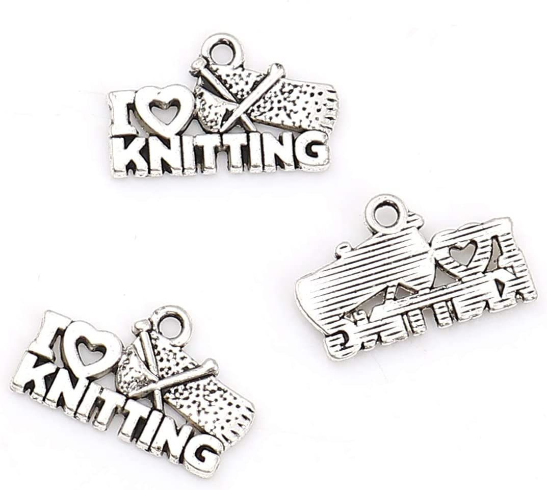 PEPPERLONELY 50pc Antiqued Silver Alloy Heart Message I Love Knitting Charms Pendants 20x13mm 6//8 x 4//8
