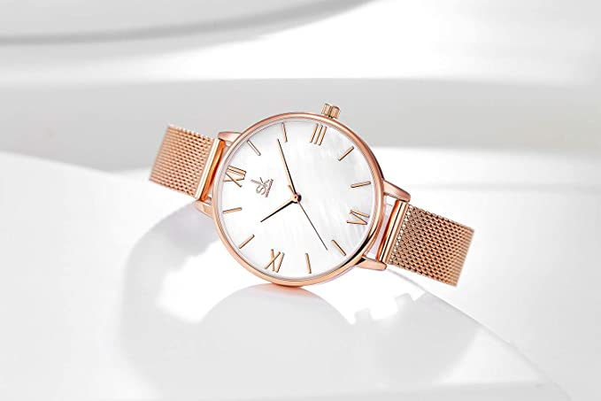 Amazon.com: SHENGKE Creative Natural Shell Dial Simplicity Women Watch Mesh Band Elegant Women Watches Ladies Business Wristwatch (K0056-natural Shell ...