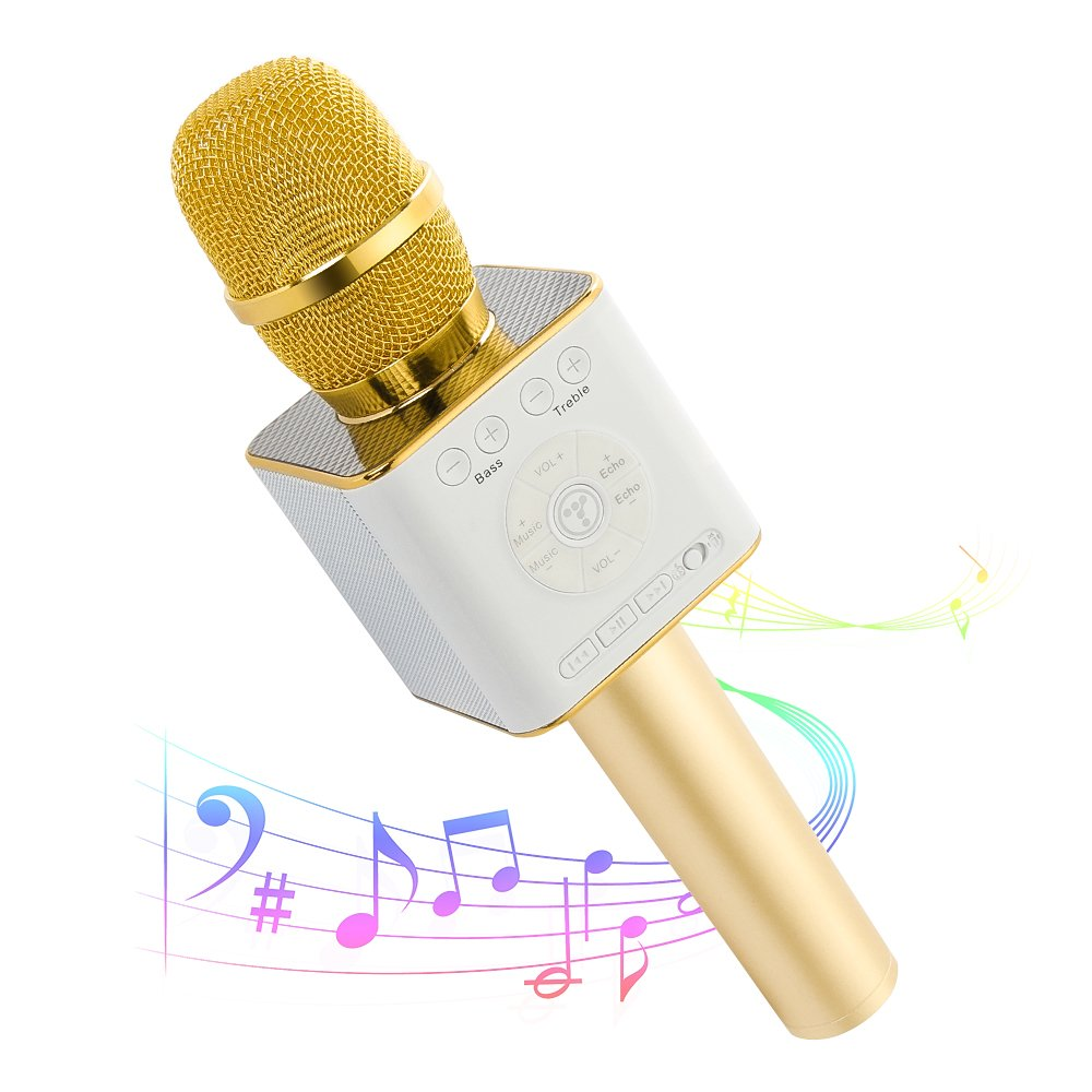 Moreslan Wireless Bluetooth Karaoke Microphone Machine,Mini Handheld Cellphone Karaoke Player Portable Hand Speaker Compatible iPhone,Android, iPad,PC and All Smartphones, 2600mAh Gold
