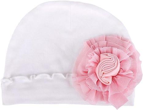 zhuotop recién nacido bebé Pure Hospital gorro infantil gorro de flores de lazo para mantener caliente blanco blanco Talla:talla única: Amazon.es: Bebé