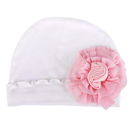 zhuotop recién nacido bebé Pure Hospital gorro infantil gorro de flores de lazo para mantener caliente blanco blanco Talla:talla única