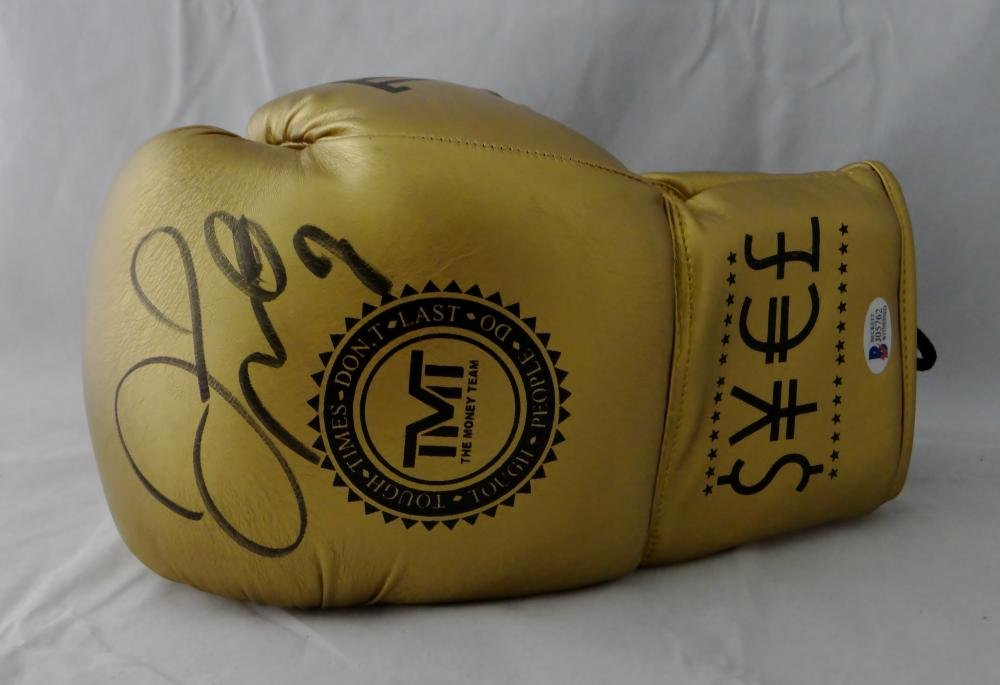 Floyd Mayweather Autographed Gold TMT Custom Boxing Glove Beckett Authentic