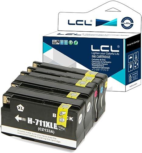 LCL 711XL 711 XL High Yield Pigment Cartucho de Tinta Compatible para HP Designjet T120 24 Designjet T120 610 Designjet T520 24 Designjet T520 36 Designjet T520 610 Designjet T520 914 (5Pack,2K,C,M,Y):