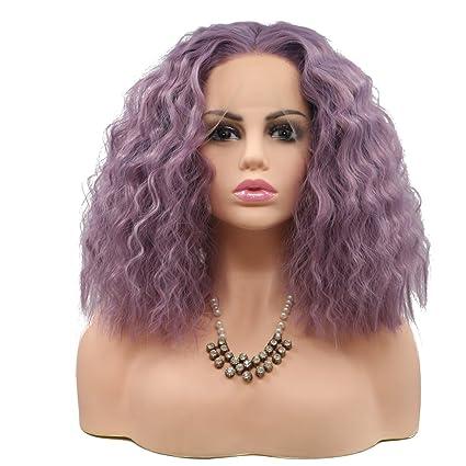 BESTUNG Peluca corta rizada morada de encaje frontal para mujer sin pegamento peluca de pelo sintético