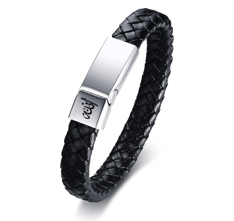 Vnox Handmade Genuine Leather Braid Muslim Allah Stainless Steel Magnetic Clasp Cuff Bangle Bracelet for Men