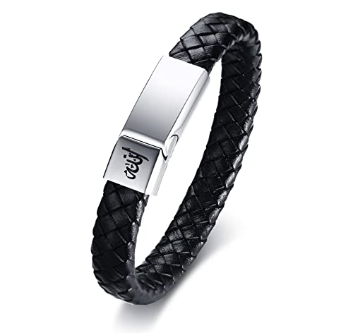 MPRAINBOW Custom Personalized Stainless Steel Genuine Braided Leather Cuff  Bracelet,21 5cm,Free Engraving