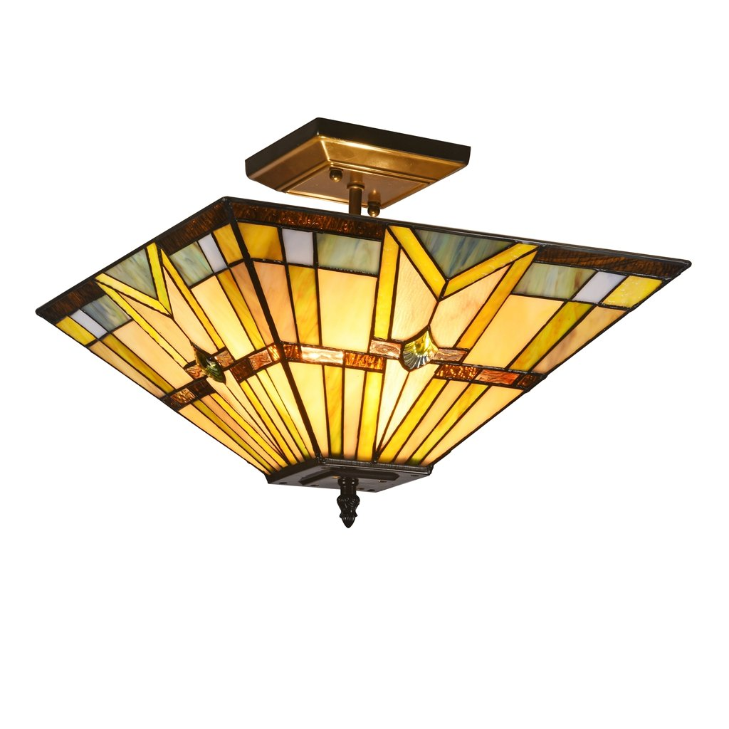 Docheer Tiffany Style Mission Semi Flush Mount Ceiling Light Fixture with 14.1 Inch Stained Glass Shade 2- Light for Dining Room, Kitchen, Bedroom