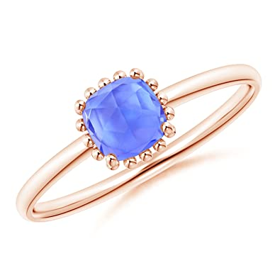 Angara Classic Cushion Tanzanite Ring with Beaded Halo izL1wdG