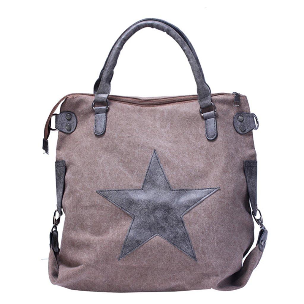 JAGENIE Canvas Shopping Handbag Shoulder Bat Travel Tote Messenger Star Printing Bags Khaki