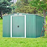 Leisure-Zone-Upgrade-Metal-Large-Lockable-Outdoor-Shed-Garden-Patio-Tool-Storage-Roofed-Shed-with-Free-Base-Double-Easy-Sliding-Doors-Weatherproof-Apex-Roof-5-Years-Warranty-8-x-6