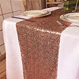 TRLYC 12''x96'' Sequin Cake Table Runner Sparkly Table Linens Tablerunner for Party/Wedding-Rose Gold