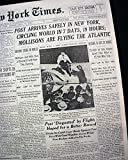 WILEY POST Very 1st Solo AIRPLANE Flight Around the World 1933 Old NYC Newspaper NEW YORK TIMES, July 23, 1933
