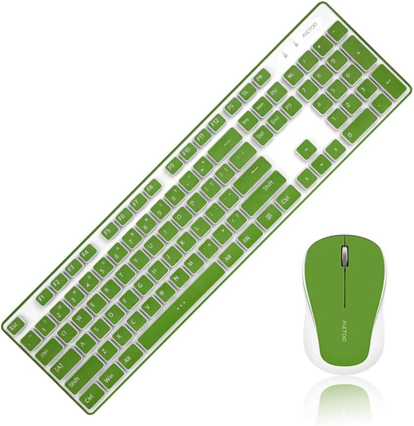 OFNMD Wireless Keyboard and Mouse Set 1600 DPI Mouse with Nano USB Receiver for Laptop PC Notebook-Green QWERTY Key 2.4GHz Compact Whisper Quite Ergonomic Keyboard