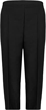 Ladies 3//4 Half Elasticated Plain Trousers Women 2 Pocket Capri Cropped Pants