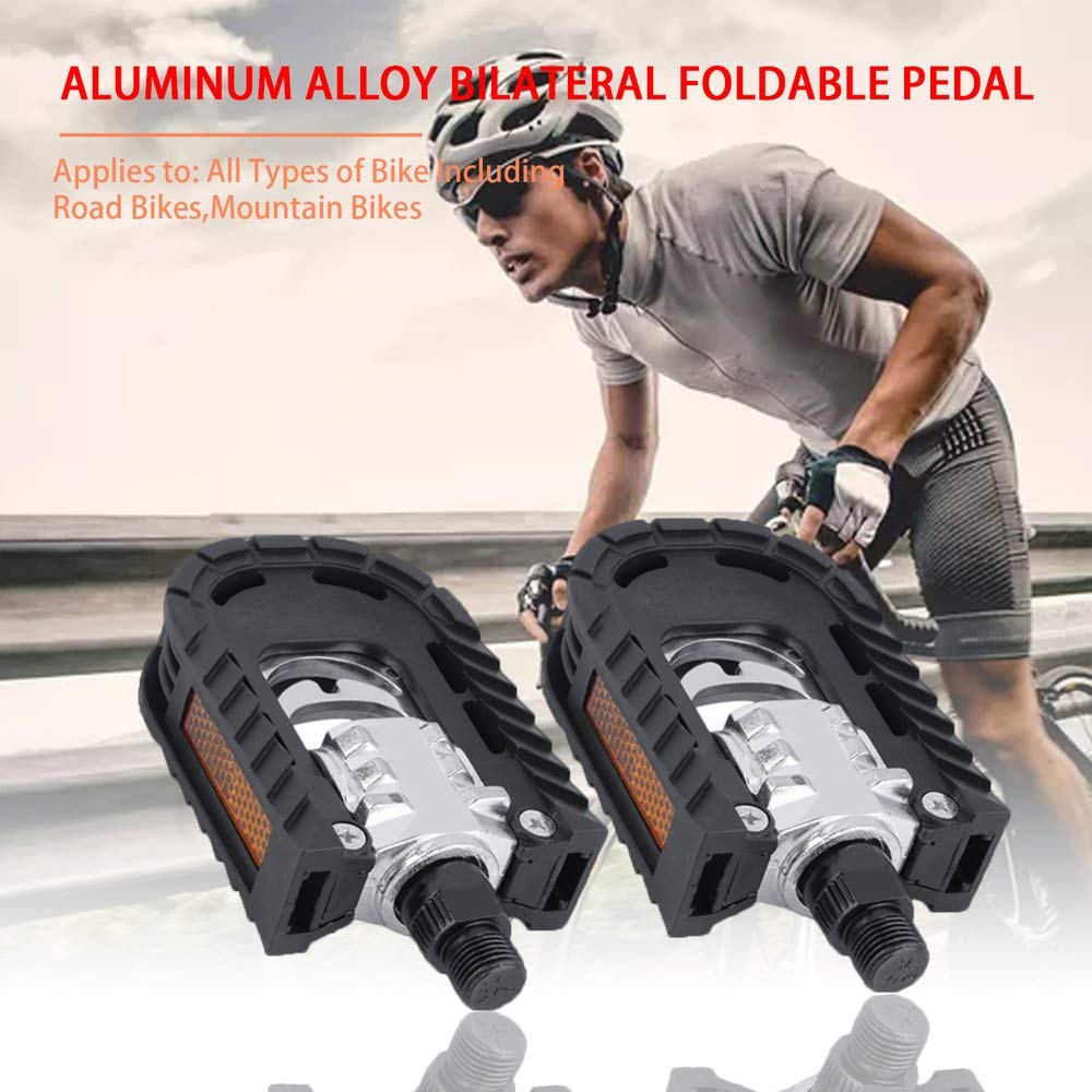 DGdolph Universal Aluminum Alloy Mountain Bike Bicycle Folding Pedals Non-Slipblack
