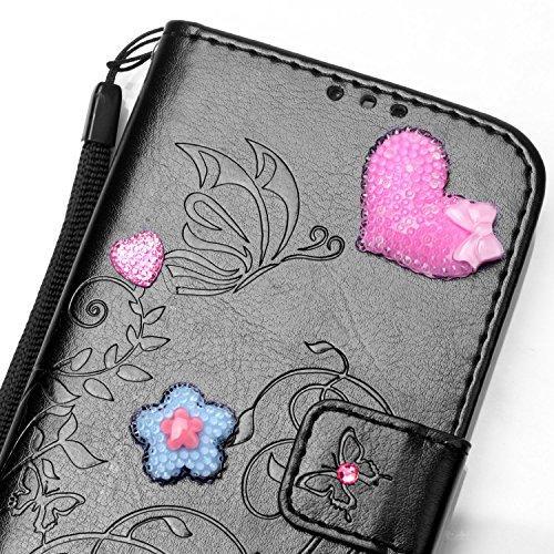 Meet de pour Apple iPhone 7 PLUS Folio Case ,Wallet flip étui en cuir / Pouch / Case / Holster / Wallet / Case, (série gaufré) Amour Bow forage autocollants décorés pour Apple iPhone 7 PLUS PU Housse