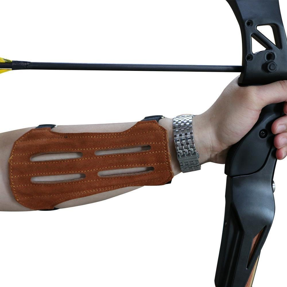 Toparchery Leather 2 Straps Arm Guard & 3 Finger Protective Gloves for Recurve Compound Long Bow Hunting Shooting Brown by Toparchery (Image #7)