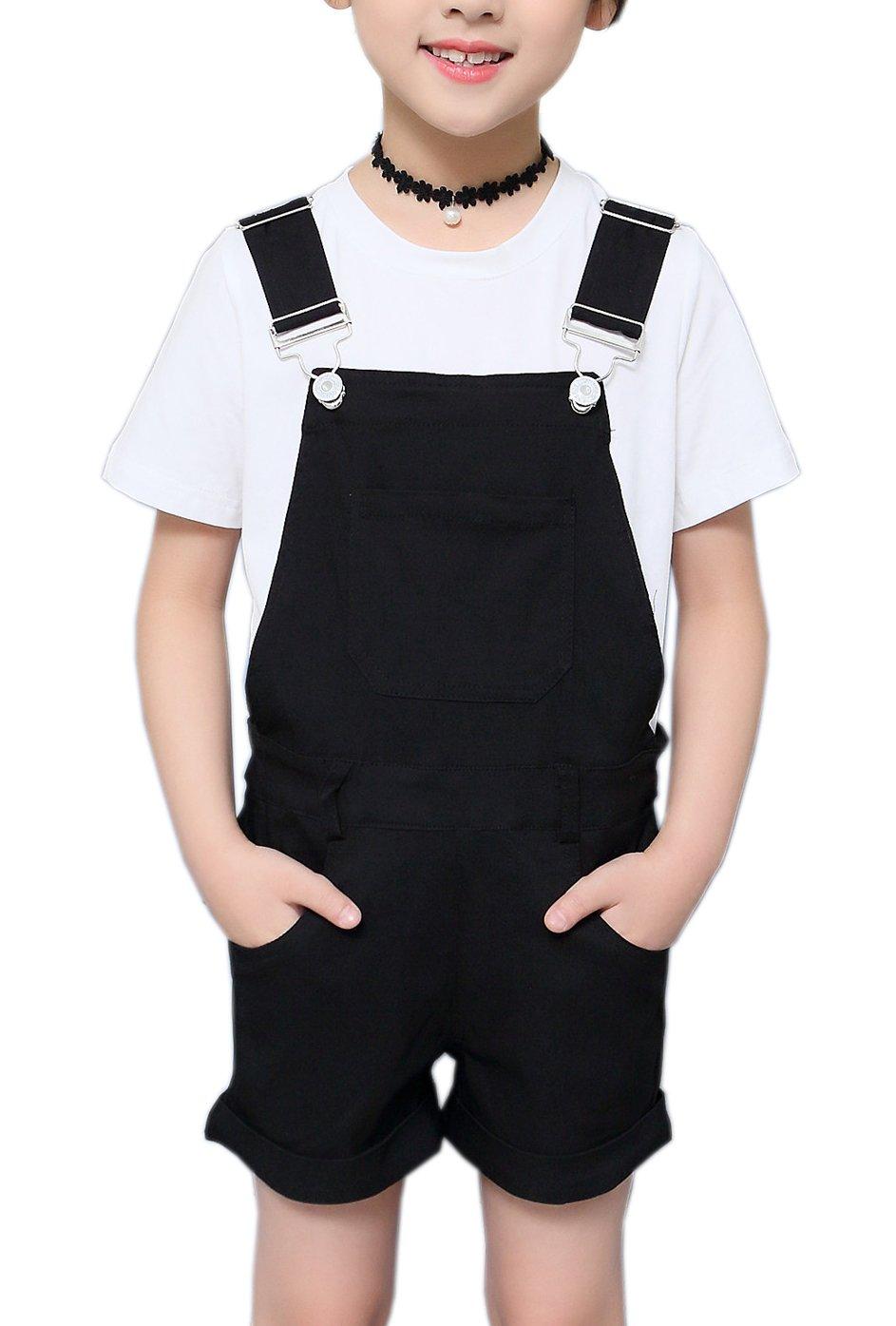 Sitmptol Big Girls Kids Cotton Overalls Jumpsuits Casual Shortalls Bib Romper Black 160