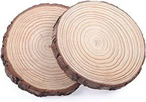 """MaiTaiTai Natural Wood Slices, 7-8"""" Diameter (Large) 4/5"""" Thick Unfinished Circles with Tree Bark Log Discs for Wedding Centerpiece, DIY Woodland Projects, Placemat or Decor, 2Pcs"""