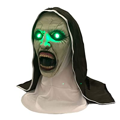 XXF Scary Glowing Nun Mask light up Horror Halloween Nun Mask Creepy Devil Nun Halloween Party Props.(LED): Clothing