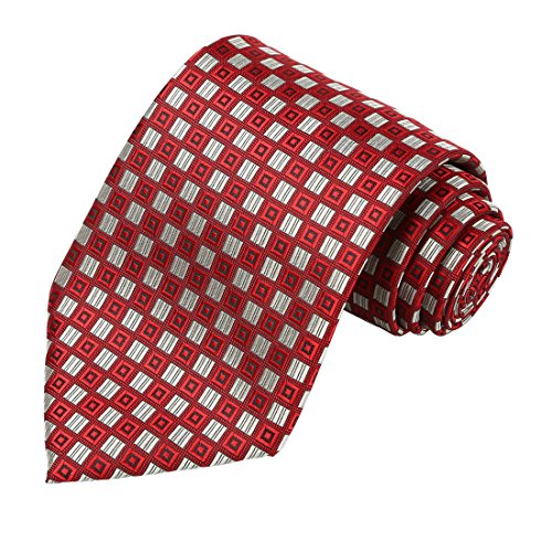 KissTies Red Gray Extra Long Tie Grid Necktie + Gift Box