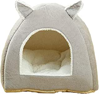 Enerhu Pet Nest Winter Warm Pet Tent House Soft Bed for Dog and Cat Gray S