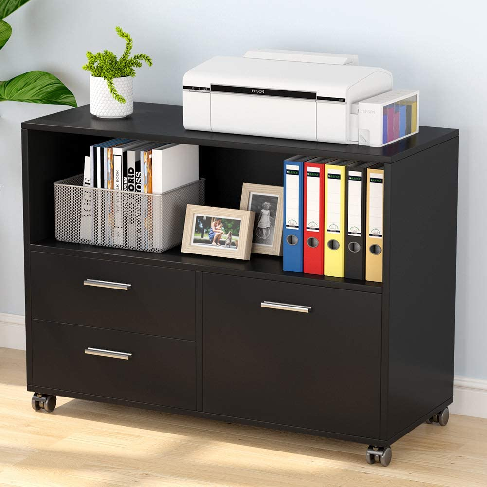 Tribesigns 3-Drawer File Cabinet with Storage Shelf, Large Mobile Lateral Filing Cabinets Printer Stand with Wheels for Home Office (Black)