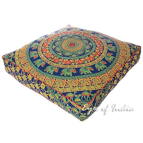 Eyes of India - 35'' Blue Orange Oversized Large Floor Meditation Pillow Cover Pouf Cushion Seating Mandala Square Hippie Colorful Decorative Bohemian Boho Dog Bed IndianCover Only