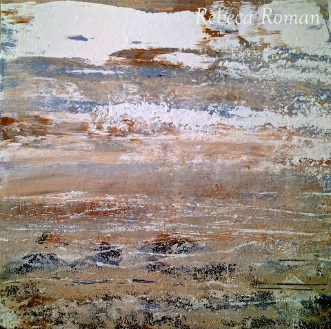 """Act"" Original Modern Collectible Painting Acrylic on Canvas Brown by Rebeca Romn"
