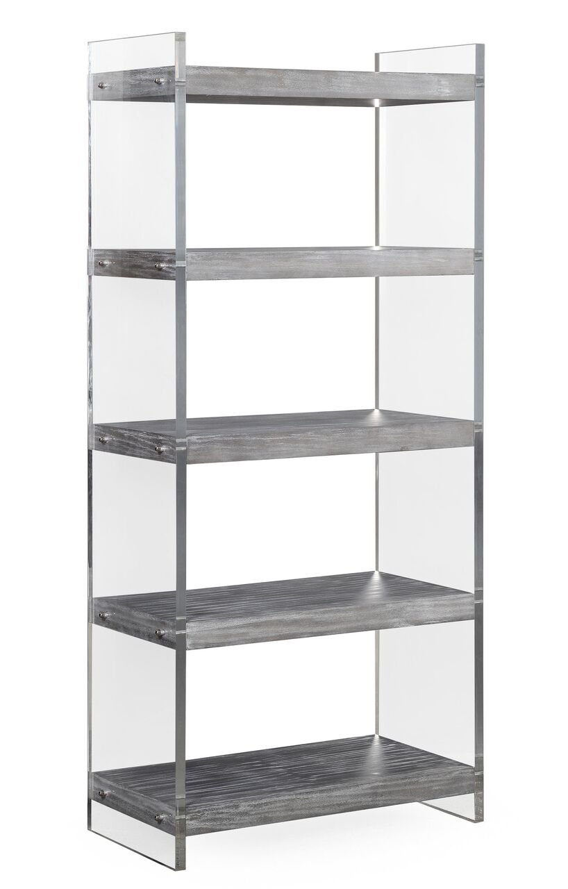 TOV Furniture The Berlin Collection Modern Home Office Storage 5-Shelf Bookcase with Lucite Support Columns, Grey