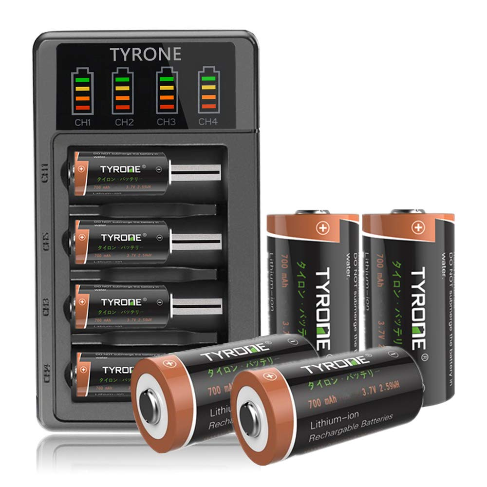 CR123A Rechargeable Batteries, TYRONE RCR123A Rechargeable Batteries for Arlo Wireless Cameras [ 8-Pack More than 700mAh 3.7V Lithium-ion Batteries with 4-Ports LED Smart Charger ] by Tyrone